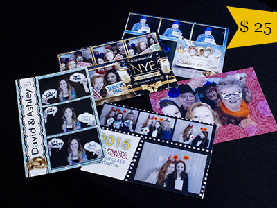 a selection of custom photo strips arranged on a table