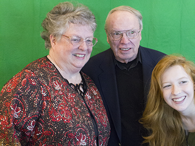 Family with the green screen background