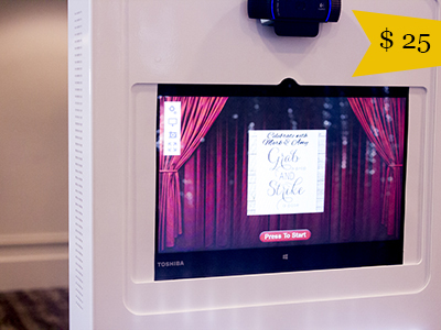 a custom welcome screen greets guests in the classic photo booth